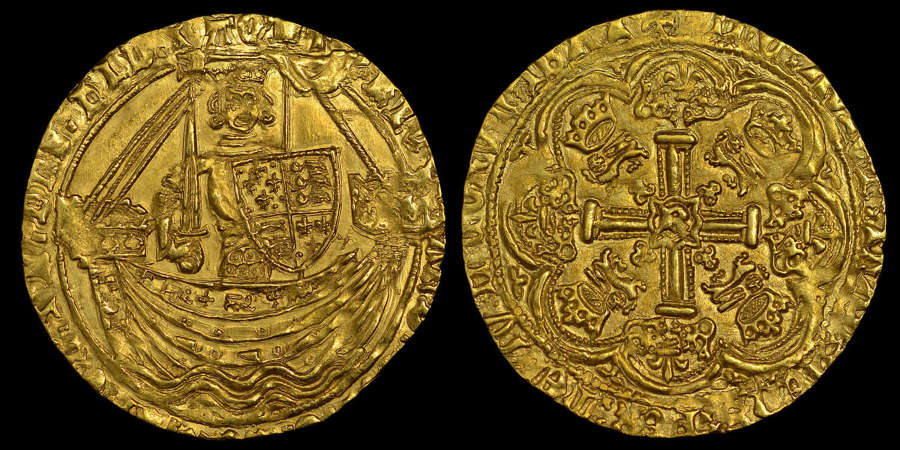 RICHARD II GOLD HAMMERED NOBLE, MS 66 *FINEST KNOW (TOP OF THE POP)
