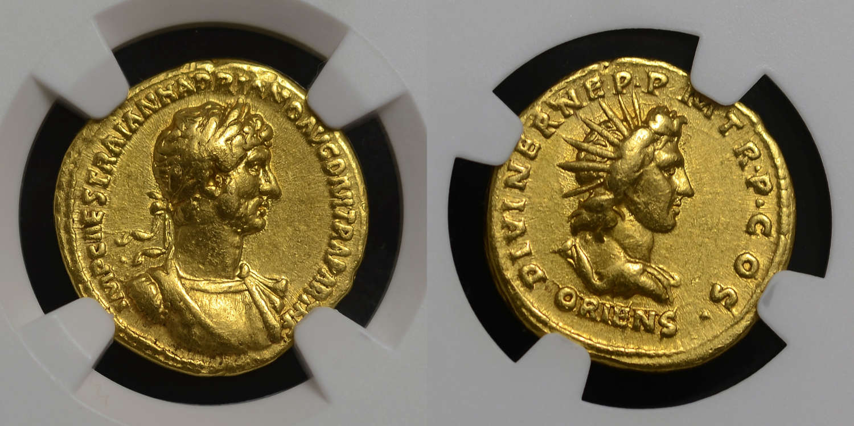 HADRIAN GOLD AUREUS WITH SOL REVERSE