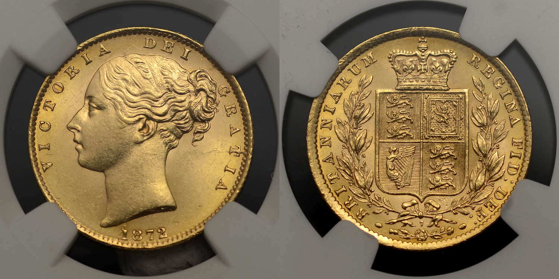 VICTORIA 1872 GOLD SOVEREIGN DIE NUMBER 7, MS63