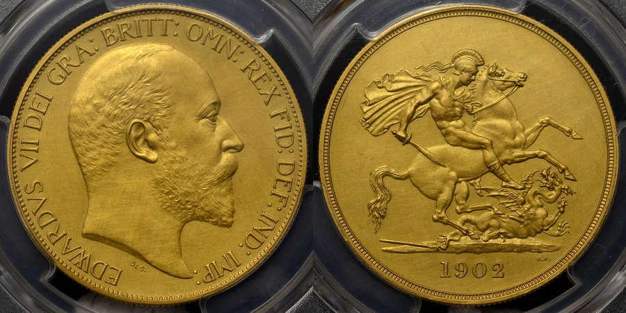 EDWARD VII 1902 GOLD MATT PROOF FIVE POUNDS PR62