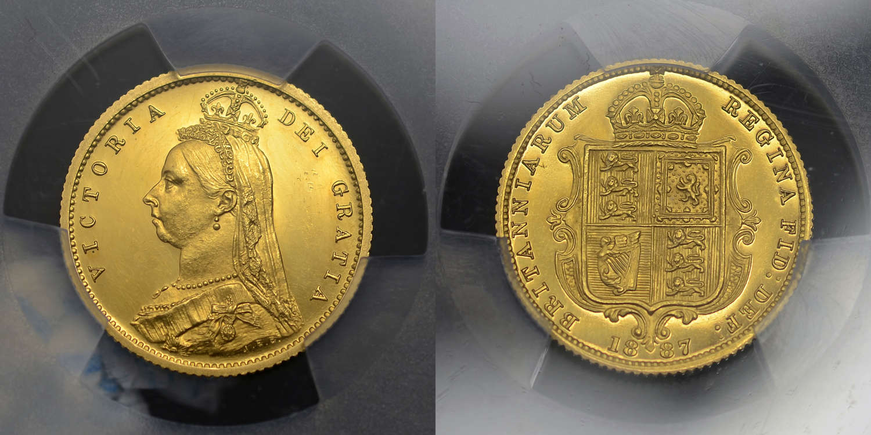 VICTORIA 1887 GOLD PROOF HALF-SOVEREIGN PF62 DEEP CAMEO