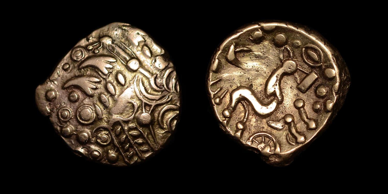 BRITISH CELTIC IRON AGE BELGAE 'CHERITON WHEEL' GOLD STATER
