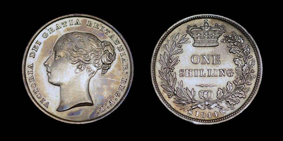 VICTORIA 1844 SILVER SHILLING, SECOND YOUNG HEAD