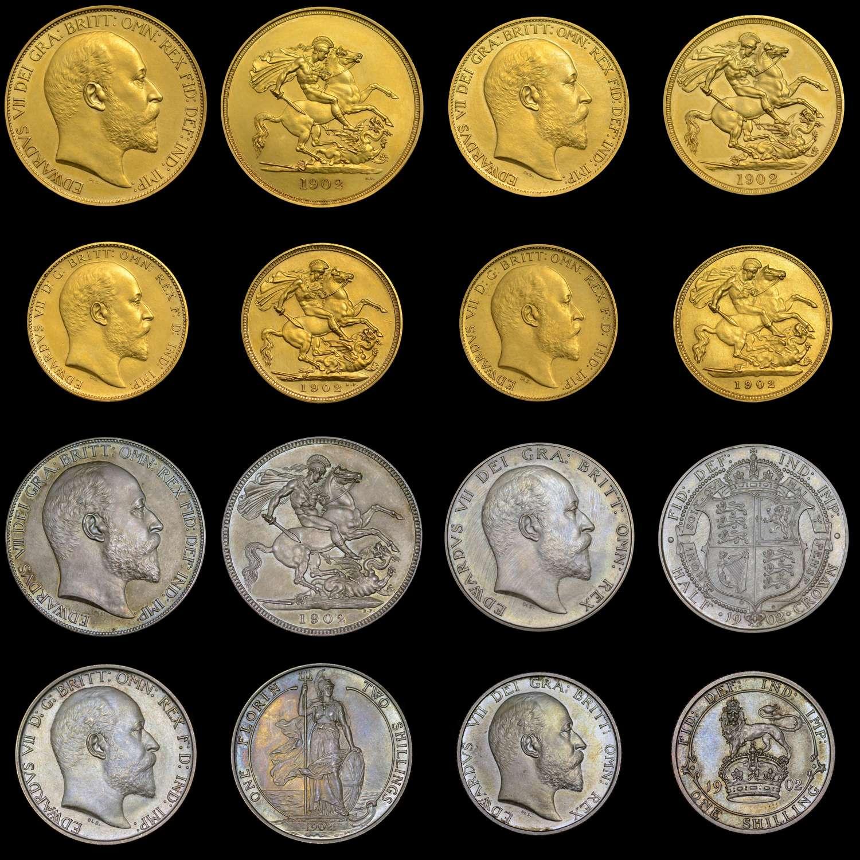 EDWARD VII 1902 GOLD MATT PROOF LONG SET, FIVE POUNDS DOWN