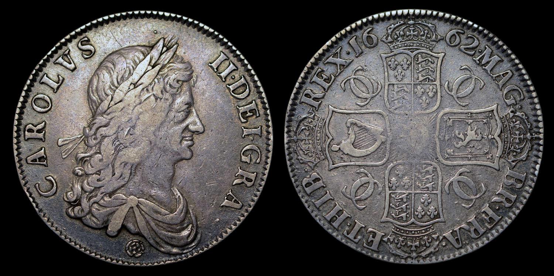 CHARLES II 1662 SILVER MILLED CROWN