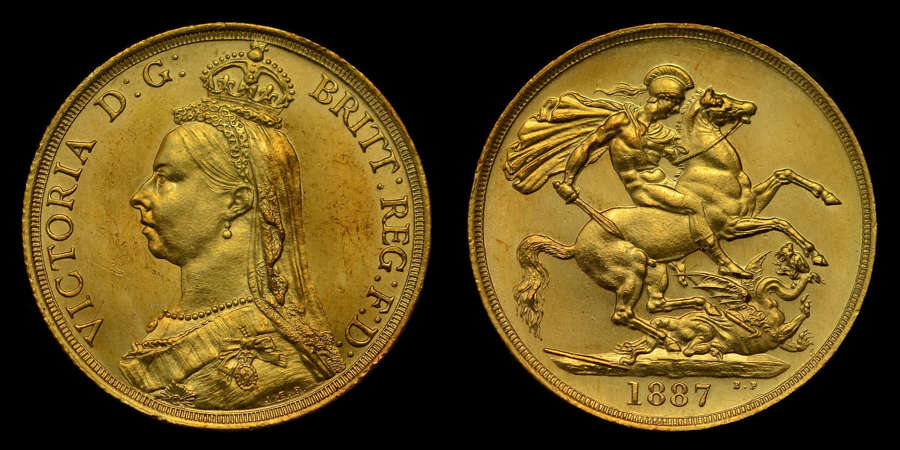 VICTORIA, 1887 GOLD TWO-POUNDS, GOLDEN JUBILEE ISSUE