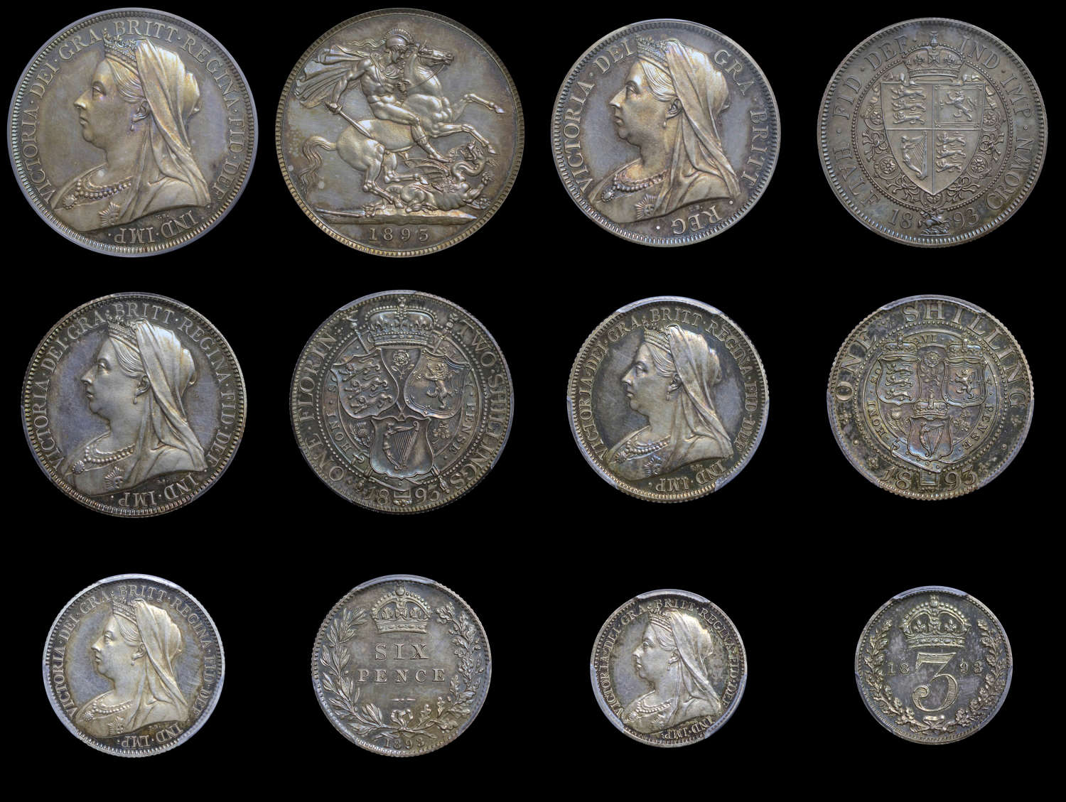 VICTORIA 1893 SILVER PROOF SET, ALL GRADED BY PCGS