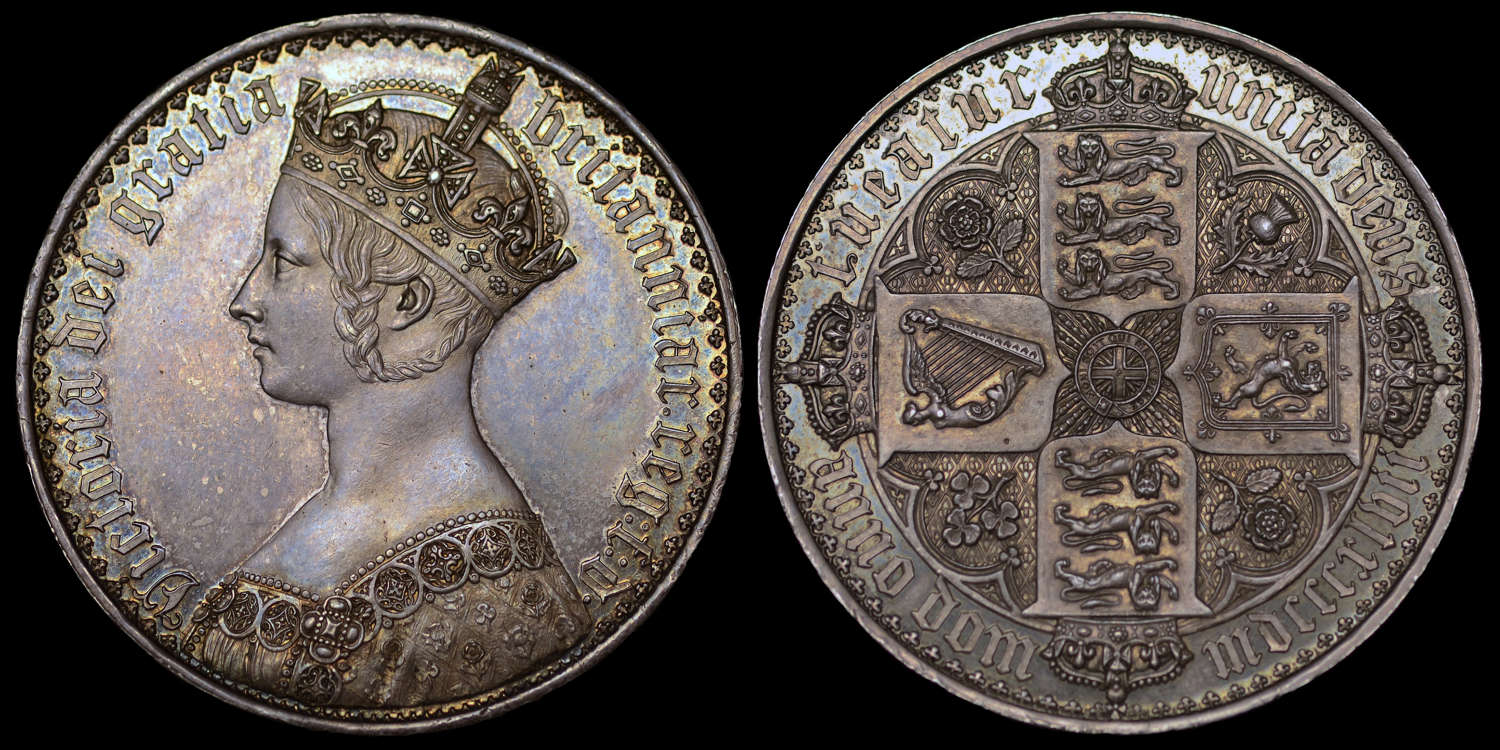 VICTORIA 1847 PROOF GOTHIC CROWN, PF 61