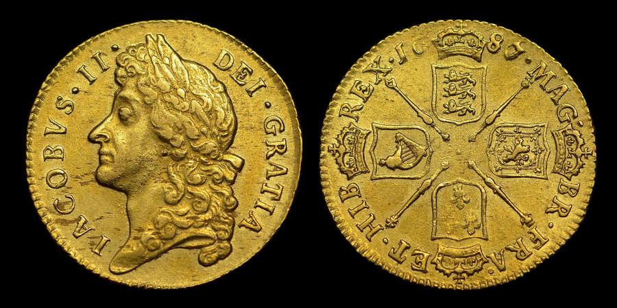 JAMES II 1687/6 GOLD GUINEA, SCARCE OVER DATE
