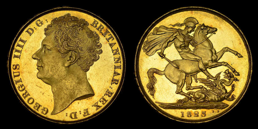 GEORGE IV, 1823 GOLD TWO POUNDS MS62 PL (PROOF LIKE)