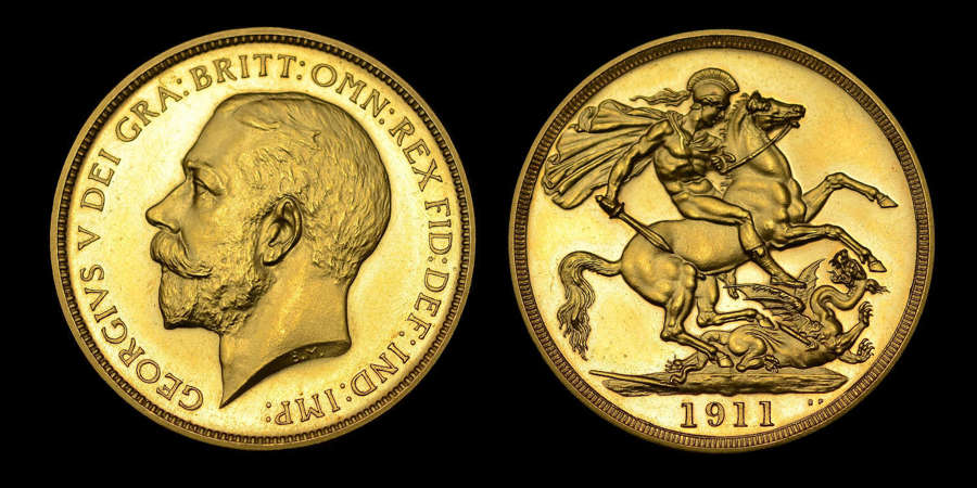 GEORGE V 1911 GOLD PROOF TWO POUNDS, CORONATION ISSUE