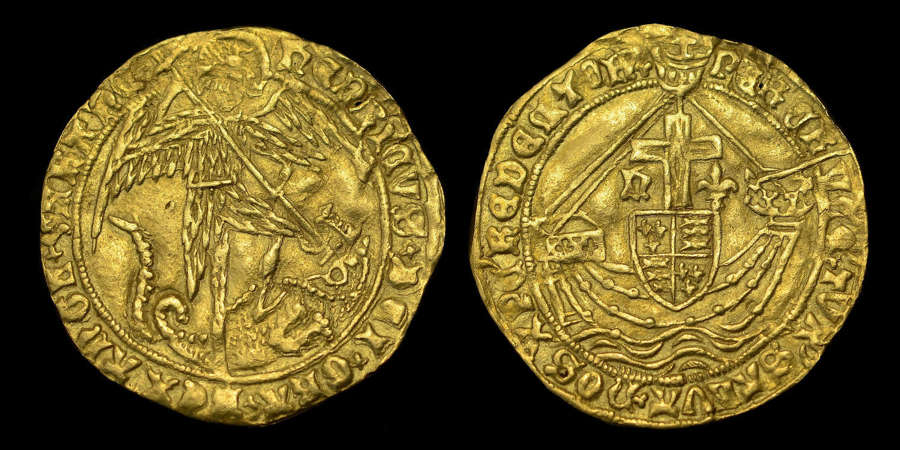 HENRY VI (RESTORED, 1470-1471) GOLD ANGEL, EX. H A PARSONS COLLECTION